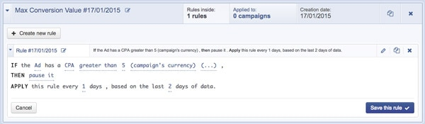 Facebook AdExpresso Automation Rules