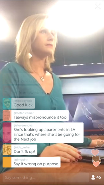 Periscope full-screen comments