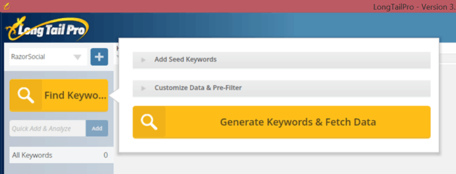 Find keywords with Long Tail Pro