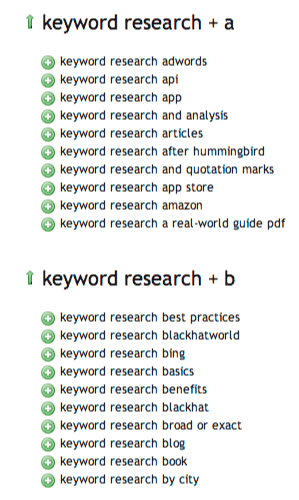 ubersuggest results