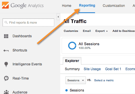 Google analytics reporting option