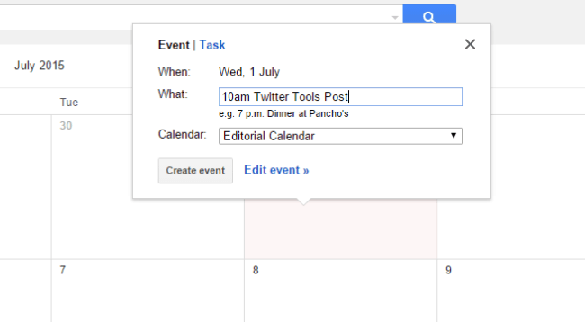 Add a blog post to your Google editorial calendar