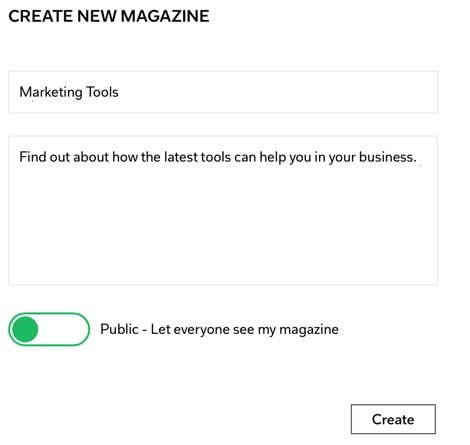 Creating a new magazine