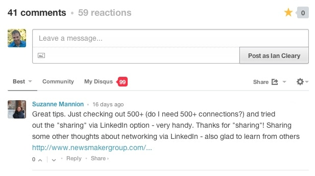 Disqus comments is great for getting comments as a lot of people are logged in to Disqus when they arrive on your site