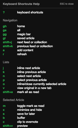 Feedly Shortcuts