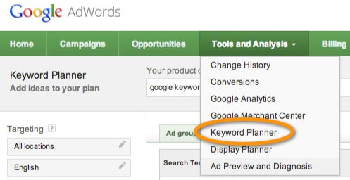keyword planner access
