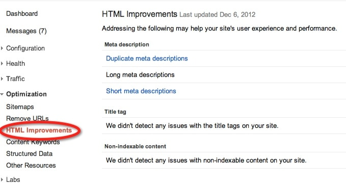 Google Webmaster tools - HTML improvements