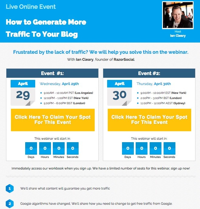 Leadpages webinar page