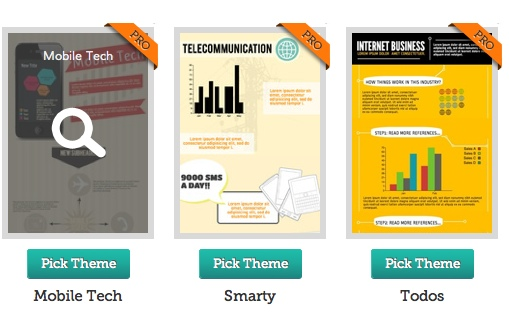 Piktochart selecting theme - Make your own infographic