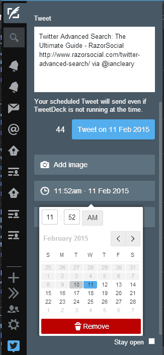 Choose the time and date for your scheduled posts