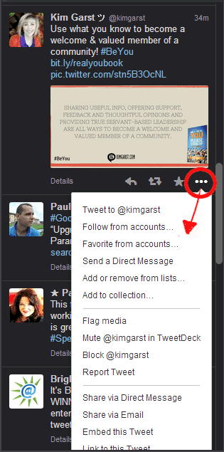 Manage tweets and users in TweetDeck