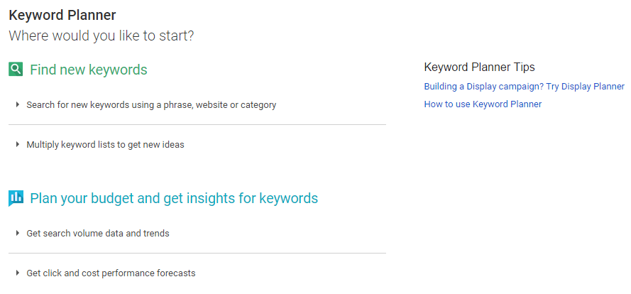 Select the Keyword Planner option in AdWords