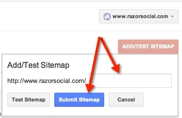 Google Webmaster Tools Submit Sitemap