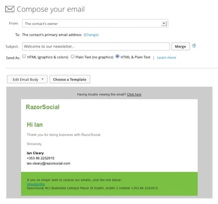 Infusionsoft create email