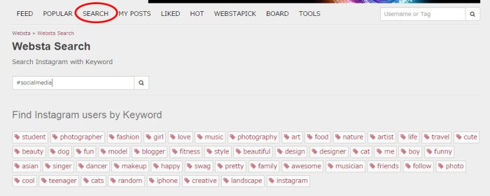 Search for Instagram photos