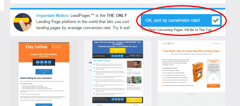 LeadPages lets you see landing page templates, in order of their conversion success