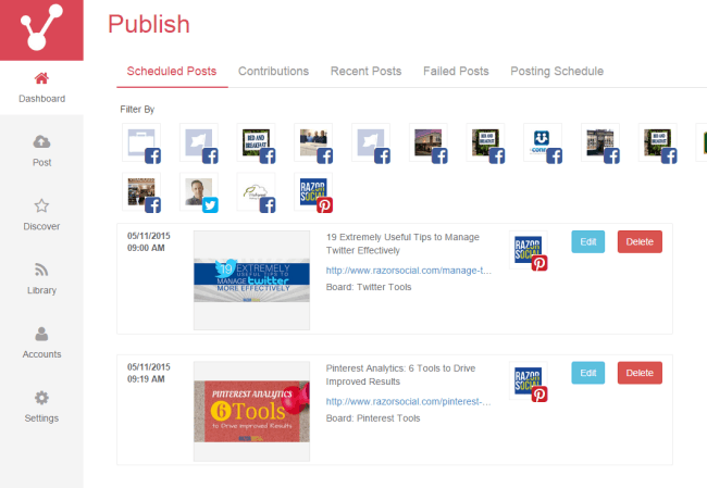 Publish Viraltag Pinterest Management Tool for Brands