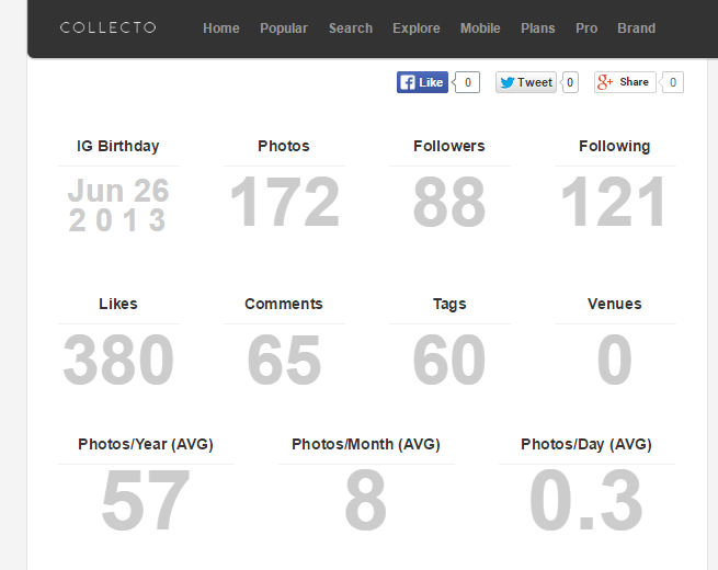 View Instagram stats on Connecto