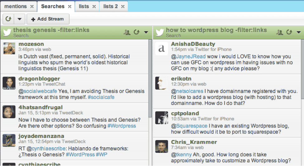Twitter Search Results in Hootsuite